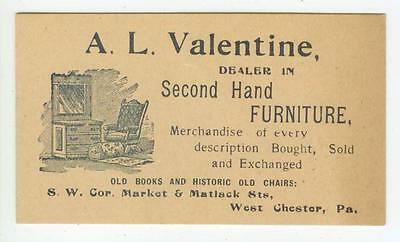 c1880s West Chester Pennsylvania A L Valentine 2nd Hand Furniture business card