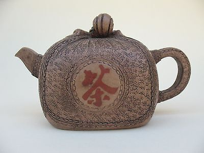 old Estate Chinese YIXING figure TEAPOT clay ceramic reign marks pot Finest