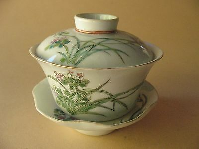 old Collection BOWL Chinese porcelain reign marks Ching 3pc flowers D4""