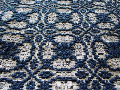 Antique Blue and White Geometric Coverlet Mid 1800's Handloomed Thick 67x85