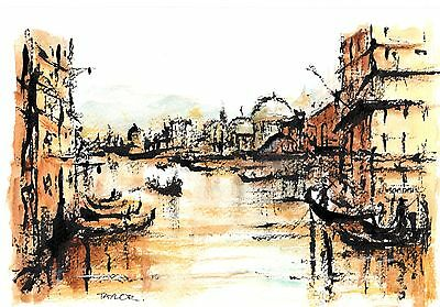 Original Watercolour & Indian ink Painting 'Impressions of Venice'