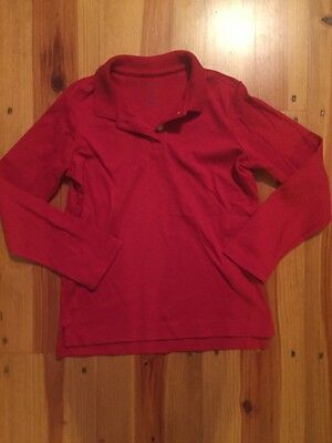 Land's End Red Long Sleeve Polo School Uniform Size 4