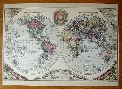Beautiful & Collectable Reproduction On Card Of The World Time Diagram Of 1884