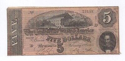 Series 2 D Five Dollars Richmond February 17th, 1864 Confederate Currency