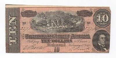Series 4 D Ten Dollars Richmond February 17th, 1864 Confederate Currency