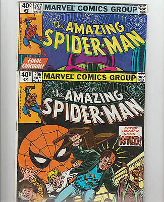 The Amazing Spider-Man #207 (Aug 1980, Marvel) AND #206 (JULY 1980) LOT OF 2