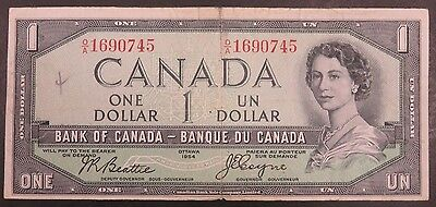 Ottawa 1954 Bank of Canada $1 Canadian Devil's Face #585