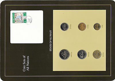 Coin Sets of All Nations Kuwait w/card 1976-1988 UNC 50,20,10 Fils 1983