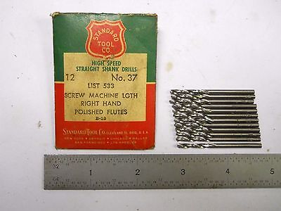 12 - New Usa Made Standard #37 (.104) Stub/ Screw Machine Drills