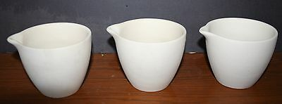Set of 3 Stoneware Mortar & Pestle Pharmacist Apothecary Jars Cups Unglazed