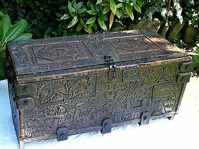 Fabulous 17th Century Antique Small Country Coffer Carved Solid Oak & Iron