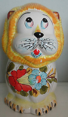 Antique Decorative Floral Hand Painted Lion Character Vintage Cookie Jar Italy