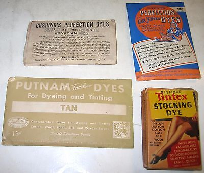 Vintage Cushing's Perfection, Putnam Fadeless and Tintex Stocking Dyes