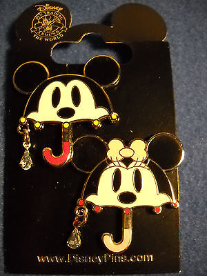 Mickey and Minnie Mouse - Umbrellas 2 Pin Set  Disney NEW