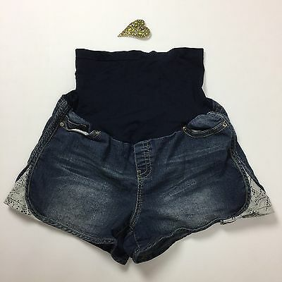 Belly Design Maternity Denim Shorts X LARGE Jean Crochet Lace Detail Full Panel