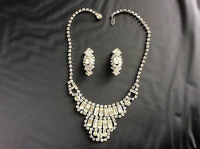 Vintage Rhinestone Necklace And Earrings With Original Box