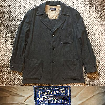 Vintage Vtg 1950s 50s Pendleton Jacket Wool USA Work Shirt Coat Jacket Gray