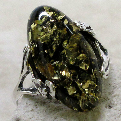 ELEGANT NATURAL GREEN BALTIC AMBER 925 STERLING SILVER RING SIZE 5-10