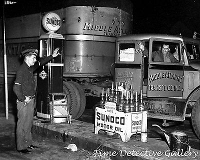 Vintage Truck at Sunoco Gas Pump and Oil Display - Vintage Photo Print