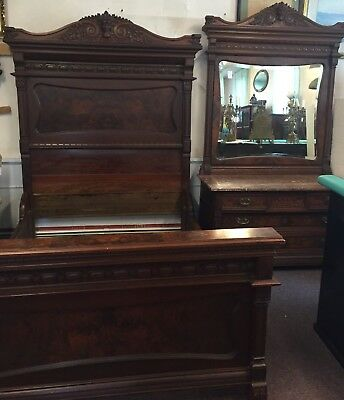 2 pc. Victorian American carved and burled walnut marble top bedroom set