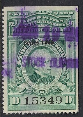 Us Stock Transfer-Green, Used, Rd308, 1949