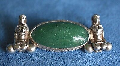 Antique Art Deco Egyptian Revival Slave Aventurine Sterling Silver Pin Brooch