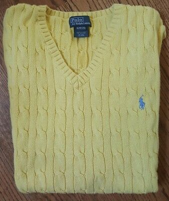 POLO RALPH LAUREN Boys Size 18-20 XL Classic Cable Knit Sweater Vest Yellow