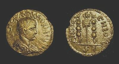 VOLUSIAN. 251-253. ANTIOCH. AE 20. Two standards, One vexilum.