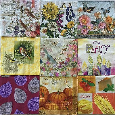 25 Paper Napkins Decoupage LOT Assorted Mixed Designs Craft Luncheon