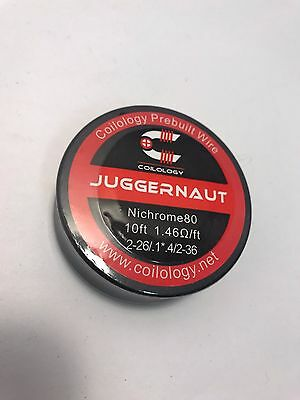 Coilology NiChrome 80 JUGGERNAUT wire 10Ft. 2-26/.1*.4/2-36