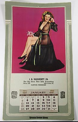 Original 1947 Pinup Advertising Calendar-Wheeler Varnish Works- J.R Daugherty Co