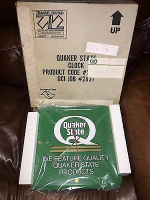 NOS Quaker State Motor Oil Clock - 1990's Quaker State Clock NEW ORIG. BOX MINT!