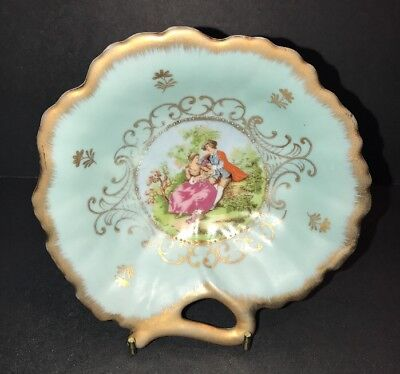 Vintage Lefton China Candy Jewelry Gold Gilt Trinket Display Dish Courting Scene