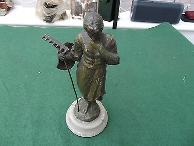 Small Spelter Figurine Of A Lady Holding A Rake