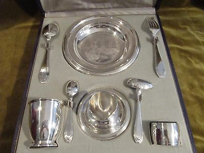Gorgeous 1925 sterling silver 950 baby gift set (8pcs) art deco st mint 419g