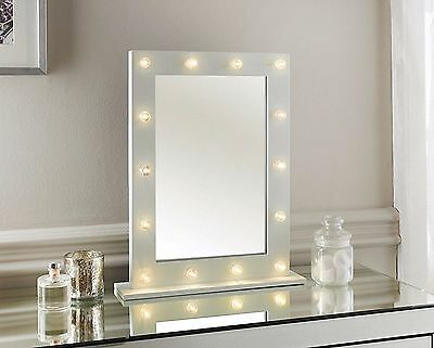 White HOLLYWOOD 14 LED light Vanity MIRROR bedroom bathroom dressing Table 50x40