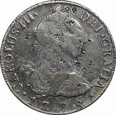 1778 Bolivia 8 Reales, Potosi Mint, Nice Details but Cleaned and w/ Chopmarks