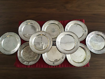 "10 Silver On Copper Saucers 6"" wide sterling tea set? VINTAGE Charger Plates"