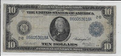 1913 $10 Federal Reserve Note Horse Blanket FR909
