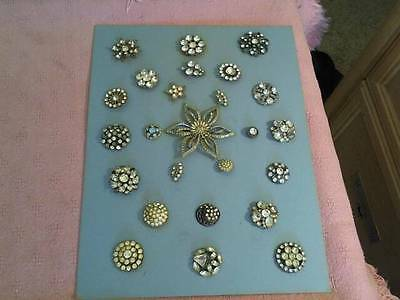 Lot Of 24 Antique / Vintage Rhinestone Buttons On A Card Plus A Large Pin In Ctr