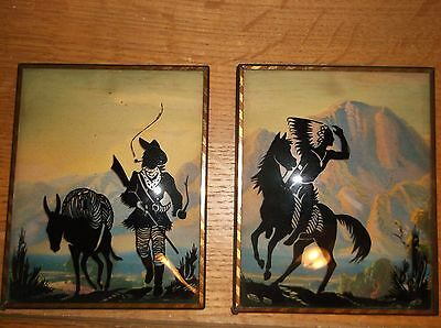 "2 Vintage Reverse Paintings of an Indian & a Cowboy 4"" X 5"""