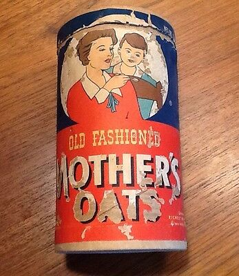Vintage Mothers Oats Old Fashioned Oatmeal Box With Lid Quaker Oats Advertising