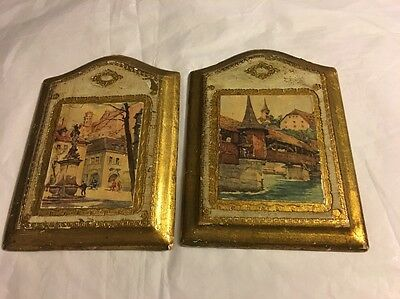 Vintage Wood Wall Art Picture Hangings- Set of Two Plaques Wall Decor