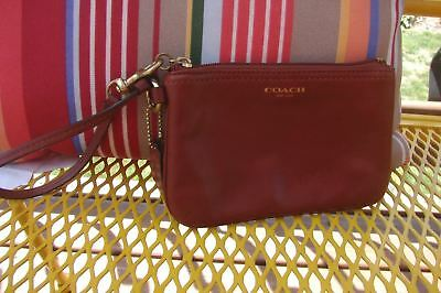 COACH Brown Leather Wristlet Wallet Carried Once~
