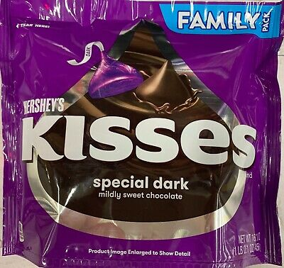 New Sealed Hershey's Kisses Special Dark Mildy Sweet Chocolate Family Bag 18 Oz