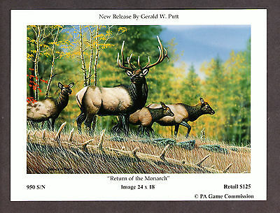 Pa Penna Pennsylvania Game Commission Elk collectible Lithograph Print Card