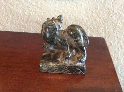 Antique Chinese Soapstone Foo Dog Unmarked Seal 1970's