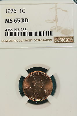 1976-P NGC MS65 RED Lincoln Memorial Cent!! #LK