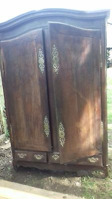 Ancient 18Thc French Large Antique Armoire /linen Press As Found