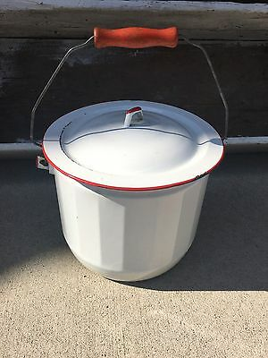 Vintage White Enamel Pail With Lid Red Handle Chamber Pot